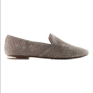 Shoes - Yosi Samra Mink and Silver Studded Suede Loafer